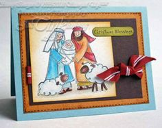Holy Family Christmas Nativity Merry Christmas Christian Greeting Card Handmade in Blue Yellow Brown Red