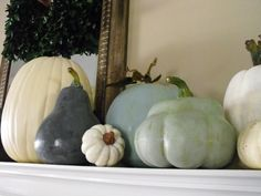 Susie Harris: DIY Painted Pumpkins (made to look like heirloom pumpkins) Faux Pumpkins, Painted Pumpkins, Plastic Pumpkins, Velvet Pumpkins, Delia Fischer, Autumn Decorating, Decorating Ideas, Craft Ideas, Pumpkin Decorating