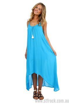 Jasmine Bar Back Maxi Dress in Azure - SALE | St. Frock