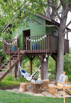 She shed stump seating area, and awesome leopard sculpture that stands guard out front. I imagine him like the gatekeeper. what's the secret password? Backyard Hammock, Backyard Play, Backyard For Kids, Hammock Ideas, Backyard Treehouse, Kids Hammock, Outdoor Hammock, Camping Hammock, Hammock Stand