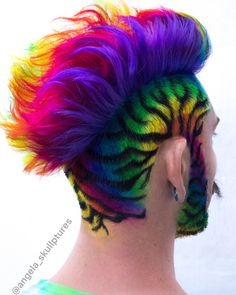 🎉 🌈 by far my favorite rainbow hair I have made😍 on the amazing and talented Who wears rainbow the best❤️ . Mens Hair Colour, Cool Hair Color, Comb Over Haircut, Wacky Hair, Shaved Hair Designs, Unicorn Hair, Crazy Hair, Pretty Hairstyles, Dyed Hair
