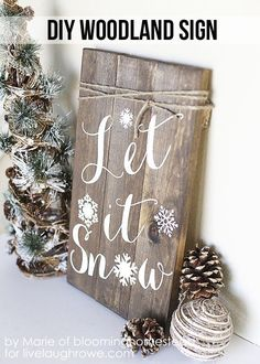 Make this fabulous DIY Winter Woodland Sign for the upcoming holidays!  Tutorial by Blooming Homestead for livelaughrowe.com #diy #woodland