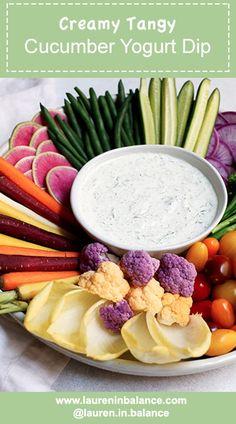If ranch and tzatziki had a baby - this would be it!!  Creamy Tangy Cucumber Yogurt Dip #glutenfree #healthy #tzatziki #yogurt #greek #crudites