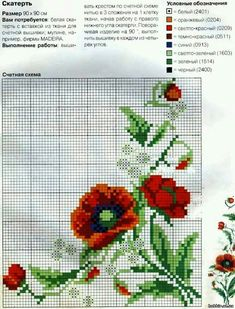 A free pattern for beautiful poppies. They are one of my favourite flowers. Cross Stitch Boarders, Cross Stitch Fruit, Cross Stitch Flowers, Cross Stitch Charts, Cross Stitch Designs, Cross Stitching, Cross Stitch Embroidery, Hand Embroidery, Cross Stitch Patterns