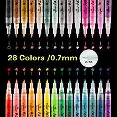 Stoff,Matal,wasserdicht 18 Marker Acryl Lack Stifte für Holz,Glas,Stein,Holz