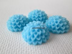 4PCS  Light Blue  Chrysanthemum Cabochons  15mm  Matte by ZARDENIA, $2.00