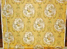 Yellow rooster fabric French country chicken by BrickHouseFabrics