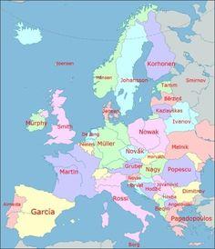 Mapa Európy podľa priezvisk