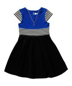 Look what I found on #zulily! Blue Stripe Necklace Textured Ponte Dress - Girls #zulilyfinds