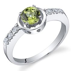 Sleek and Classy 050 carats Peridot Ring in Sterling Silver Rhodium Nickel Finish Size 7 * Check out this great product. (This is an affiliate link) #Rings