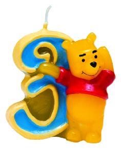"""Candelina in cera per Torta di Compleanno con numero """"3"""" e """"Winnie the Pooh"""", Cm.4,5x4,5. Disponibile da C&C Creations Store"""