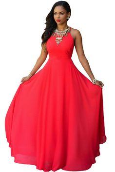 Divine Red Crisscross Back Maxi Dress