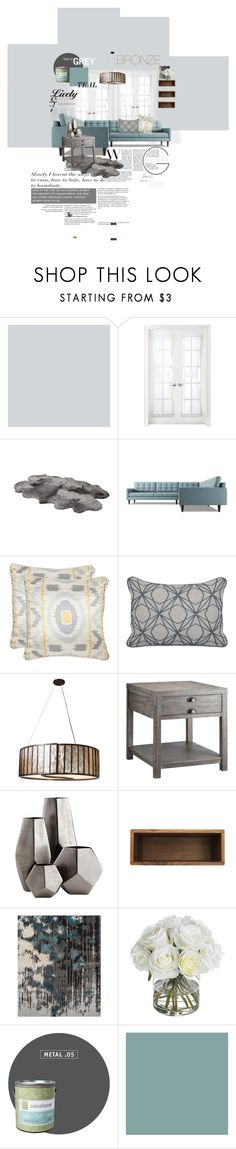 """""""Teal & Grey Scale"""" by sarahyxo-p on Polyvore featuring interior, interiors, interior design, home, home decor, interior decorating, Royal Velvet, Thrive, Safavieh and Varaluz"""