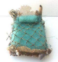 Forest Whimsy aqua Mermaid bed needle felted bedding, seashells, pearls, driftwood, OOAK Waldorf friendly dollhouse miniature