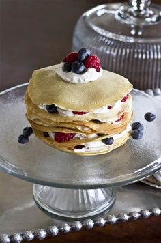 Crepe Cake - made with almond milk, layered with Greek yogurt and fruit....