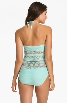 Robin Piccone 'Penelope' Crochet Overlay One Piece Swimsuit | Nordstrom