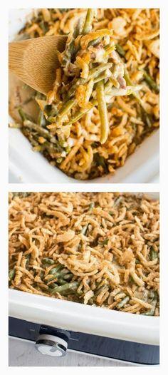 Crockpot Green Bean Casserole from Crockpot Gourmet has no canned soup! [Featured on SlowCookerFromScratch.com] #SlowCooker #CrockPot