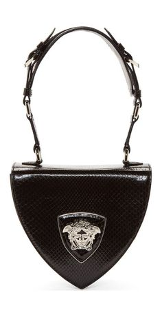 Versace Black Python Leather Silver Medusa Shoulder Bag Structured small embossed semigloss leather bag in black. Combination top carry handle and shoulder strap. Shield panel with signature Medusa head design hardware at bag face. Fashion Handbags, Purses And Handbags, Fashion Bags, Bags 2014, Beautiful Bags, Clutch Wallet, Handbag Accessories, Black Silver, Black Suede