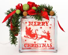 Nicole™ Crafts Merry Christmas Glass Block by debbie Christmas Holidays, Christmas Crafts, Christmas Decorations, Merry Christmas, Christmas Ideas, Christmas Thoughts, Xmas, Snowman Decorations, Holiday Decorating