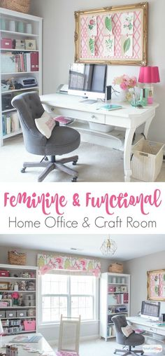 Form meets function in this gorgeous space, a combination craft room and feminine home office. Click to take a virtual tour of 25 beautiful craft rooms and feminine work spaces. You'll be blown away by all the storage ideas, DIY and decorating ideas from