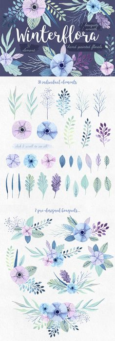 Winterflora is a wintery floral set with delicate pastel colors to make your designs even more subtle and elegant! All of the elements were hand painted with gouache (although, it looks like watercolor too) and then manipulated digitally. Winterflower inc