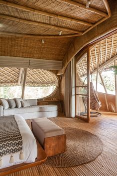 Bamboo Architecture, Interior Architecture, Small Table And Chairs, Casa Hotel, Resort Interior, Bamboo House Design, Small Boutique Hotels, Bamboo Building, Hut House