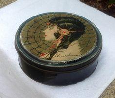 VTG 1920's ART DECO GLORIA SWANSON SILENT MOVIE STARLET CANDY TIN