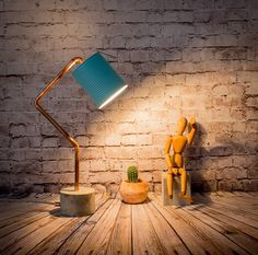 Industrial concrete copper table blue lamp by EunaDesigns on Etsy