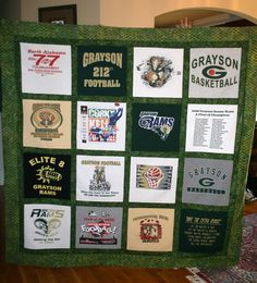 Made my boys a quilt using their high school sports t-shirts