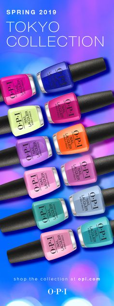 Spring 2019 introduces our OPI Tokyo collection, featuring 12 brand new shades in OPI Nail Lacquer, OPI Infinite Shine and OPI GelColor. Nail Color Trends, Opi Nail Colors, Gel Polish Colors, Spring Nail Colors, Spring Nails, Summer Nails, Nails Opi, Opi Gel Polish, Nail Polishes