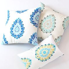 Throw Pillows: Teal Paisley, Cobalt Aqua Blue Paisley Reversible Throw Pillow Cover 20 x 20, Turquoise Blue Cushion Cover, Couch Pillow, Bedroom Pillow, Bohemian, Ethnic
