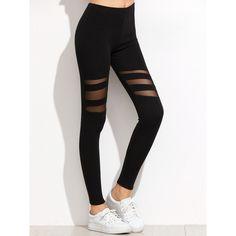 SheIn(sheinside) Black Mesh Insert Leggings (2.745 KWD) ❤ liked on Polyvore featuring pants, leggings, bottoms, legging pants, mesh panel leggings, mesh inset leggings, stretchy pants and stretch pants