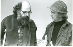Beat writer and poet Allen Ginsberg talking with artist Stanley Twardowicz during Salem State College's Symposium on Jack Kerouac during the Arts Festival. (April 5, 1973).     Experience the latest #Art galleries in     NYC on https://www.artexperiencenyc.com