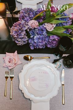 #placesetting #food #menu #event #wedding #ideas #rose #purple #black #details #glass #photography #reception #ideas