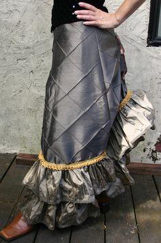 Bronze and Gold Silk Diamond Victorian Bustle Skirt by dashandbag, $175.00