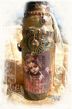 bouteille d'art - By Anne, Bulles dorées