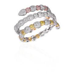 David Morris | Pink, yellow & white diamond flexi spiral bangle Total weight 38.18cts