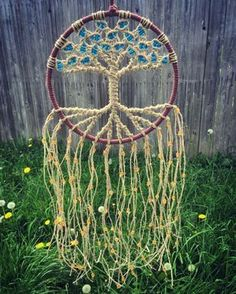 ~ Macrame Wall Hanging Dream Catcher Hippie Tapestries Bohemian Wall Tapestry Macrame Wall Art Tree of Life Tapestry Natural Hemp 8 Inch Hoop ~ Made with all natural hemp and beautiful glass beads, you can customize your macrame wall hanging by choosing from 12 bead colors. This makes a lovely piece for your bohemian hippie home! DIMENSIONS Hoop diameter- 8 inches (20.32 cm) Length from top of hoop- 20 in (50.8 cm). HOW TO ORDER There are 12 colors to choose from in the last picture. IF y...