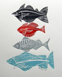 Creating individual lino prints of a fish or an animal can collectively work really well together as a large image. Imagine having a massive canvas or a wall of fish created by your staff. Stamp Printing, Screen Printing, Linocut Prints, Art Prints, Sketch Manga, Illustrator, Poster Art, Linoprint, Tampons