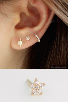 Tiny Pave Star Stud Earring Solid gold tiny pave star stud, best for second or third lobe piercings! Tiny Pave Star Stud Earring Solid gold tiny pave star stud, best for second or third lobe piercings! Rose Gold Earrings, Crystal Earrings, Women's Earrings, Diamond Earrings, Baby Earrings, Diamond Jewelry, Bridal Jewelry, Jewelry Gifts, Fine Jewelry