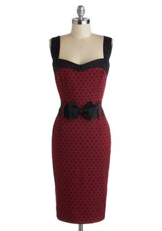 Cool Vibes Dress in Polka Dots - Red, Black, Polka Dots, Belted, Party, Pinup, Vintage Inspired, Sheath / Shift, Variation, Sweetheart, Cotton, Long, Bows, Cocktail, Girls Night Out, 40s, 50s, Sleeveless