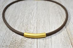 Minimal Gold Tube Necklace, Golden Bar Necklace, Modern Gold Necklace, Curved Tube Necklace, Short Gold and Brown Necklace, Travel Necklace by ESBeadworks on Etsy