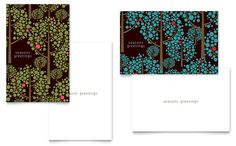 Stylish Holiday Trees Greeting Card Template Design by StockLayouts