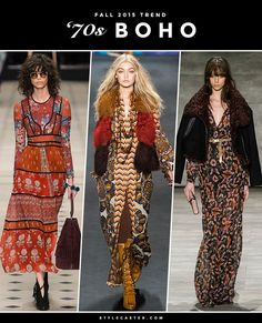 The 12 Biggest Fashion Trends for Fall 2015 - 70s Boho, including bell sleeves, flared jeans, fringe, wide-leg pants, floppy hats, suede, and peasant dresses.