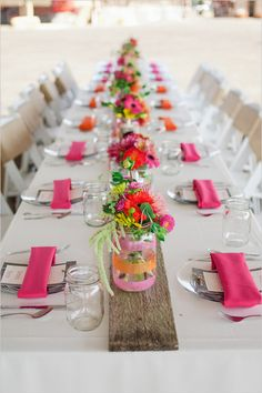 Farms Oregon Wedding pink and orange wedding decor I love the decorated mason jar vases.pink and orange wedding decor I love the decorated mason jar vases. Party Table Decorations, Wedding Decorations, Party Tables, Wedding Centerpieces, Outdoor Dinner Parties, Picnic Parties, Party Outdoor, Mason Jar Vases, Clear Vases