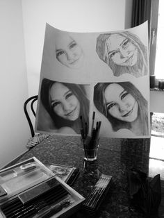 Getting ready. Drawing. Girl. Pointillism. Vector drawing. Realistic drawing. black and white