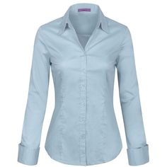 KOGMO Womens Long Sleeve Button Down Shirts Office Work Blouse (S-3X) ($24) ❤ liked on Polyvore featuring tops, blouses, long sleeve button down shirts, blue top, blue button-down shirts, button-down blouses and extra long sleeve shirts