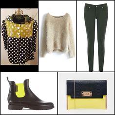 Handmade raincoat @lanakllanak ~~ Fuzzy knitted sweater in beige @chicwish ~~ Supersoft skinny @warestyle ~~ #newlook Macy clutch bag in colour block @asos ~~ Sugar caucho negro elástico amarillo flúor #Neonboots
