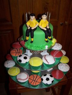 Sports cupcake tower birthday cake!