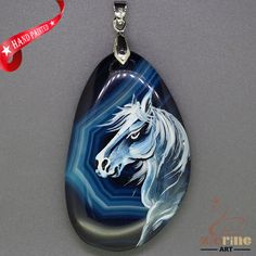 Hand Painte Arabianhorse Pendant For Necklace Gemstone With Silver Bail ZL807376 #ZL #Pendant